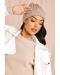 MissPap Cable Knitted Beanie Hat - Natural