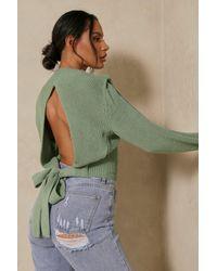 MissPap Cut Out Tie Back Detail Jumper - Green