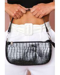MissPap Croc Shoulder Bag - Black