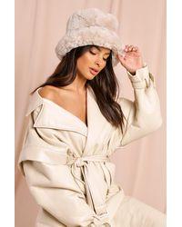MissPap Faux Fur Bucket Hat - Natural