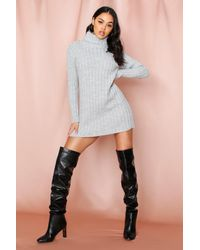 MissPap - Ribbed Knitted Roll/polo Neck Jumper Dress - Lyst