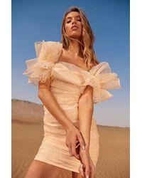 MissPap Pastel Ruffle Sleeve Organza Bardot Dress - Natural
