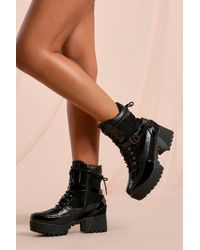 MissPap Snake Detail Chunky Sole Lace Up Boot - Black