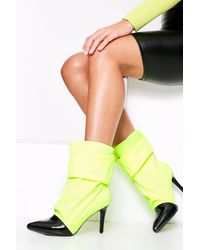 MissPap Stretch Ruched Sock Boot - Yellow