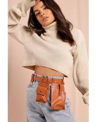 MissPap Leather Look Utility Belt Bag - Brown