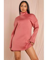 MissPap Oversized Roll/polo Neck Oversized Scuba Dress - Pink