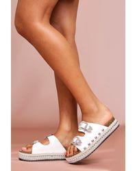 MissPap Western Style Platform Sandals - White