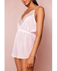 MissPap Lace Trim Chiffon Teddy - Pink