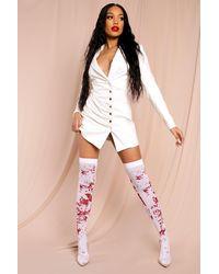 MissPap Blood Halloween Over The Knee Socks - White