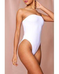 MissPap Bandeau High Leg Swimsuit - White