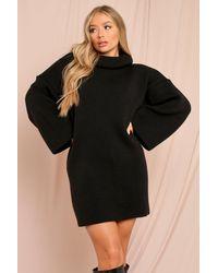 MissPap Oversized Roll/polo Neck Fluted Sleeve Jumper Dress - Black