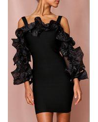 MissPap Bandage Knit Dress With Extreme Ruffle Sleeves - Black