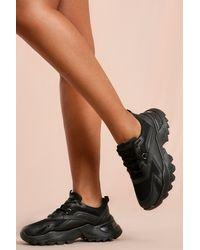 MissPap Leather Look Chunky Platform Trainers - Black
