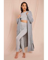 MissPap Oversized Chunky Knit Maxi Cardigan - Grey