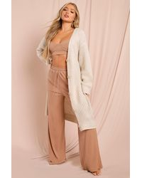MissPap Oversized Chunky Button Front Maxi Cardigan - Natural