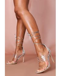 MissPap Studded Ankle Tie Heels - Metallic
