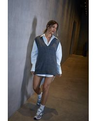 MissPap Tia V Neck Knitted Sleeveless Jumper - Grey
