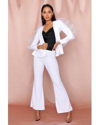 MissPap Ruffle Mesh Detail Suit - White