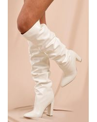 MissPap Leather Look Pointed Block Heel Boots - White