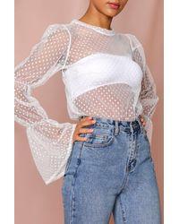 MissPap Polka Dot Mesh Extreme Puff Sleeve Blouse - White