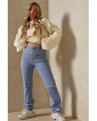 MissPap Pocket Front Straight Leg Jean - Blue