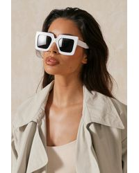 MissPap Oversized Square Frame Sunglasses - White
