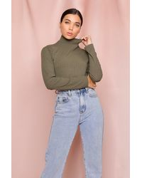 MissPap Rib Knit Roll/polo Neck Top - Green