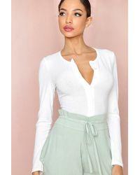 MissPap Rib Button Front Thong Bodysuit - White