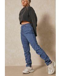 MissPap Ruched Detail Denim Straight Leg Jean - Blue