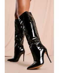 MissPap Patent Over The Knee Pointed Heeled Boot - Black