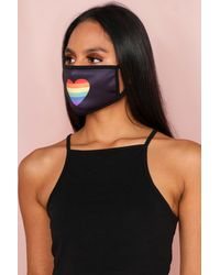 MissPap Rainbow Heart Fashion Face Mask - Black