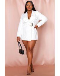 MissPap Asymmetric Gold Buckle Belted Blazer Dress - White
