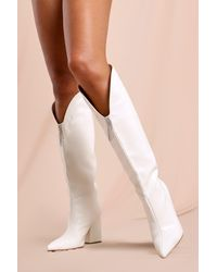 MissPap Diamante Detail Knee High Cowboy Boots - White