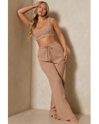 MissPap Ribbed Bralet And Wide Leg Co-ord Lounge Set - Multicolour