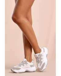 MissPap Mesh Panel Chunky Sole Trainer - White