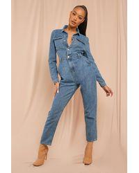 MissPap Denim Puff Sleeve Jumpsuit - Blue