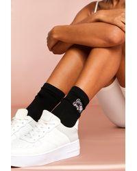MissPap Embroidered Slogan Multipack Ankle Socks - Black