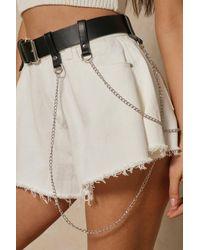 MissPap Leather Look Drop Chain Detail Belt - Black