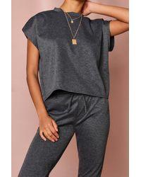MissPap Short Sleeve Boxy Loungewear Set - Grey