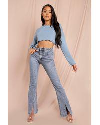 MissPap Split Seam Detail Jeans - Blue