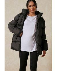 MissPap Oversized Midi Puffer Jacket - Black