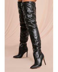 MissPap Thigh High Pointed Heeled Boots - Black