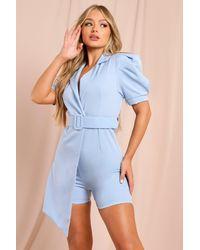 MissPap Puff Shoulder Belted Wrap Playsuit - Blue
