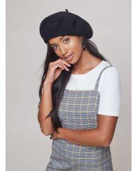 Miss Selfridge - Black Plain Beret Hat - Lyst