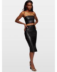 Miss Selfridge Black Leather Look Pu Pencil Midi Skirt