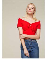 Miss Selfridge - Red Bunny Tie Crop Top - Lyst