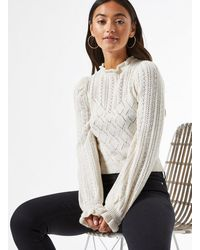 Miss Selfridge Petite Ivory Frill Prairie Knitted Jumper - White