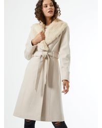 Miss Selfridge Cream Detachable Faux Fur Collar Belted Coat - White