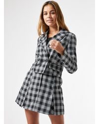 Miss Selfridge - Monochrome Check Crop Blazer - Lyst