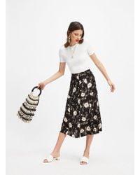 Miss Selfridge Black Spun Floral Print Midi Skater Skirt in Black - Lyst 64ffec058